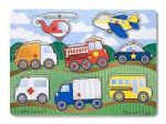 CHILDRENS CHILD MELISSA AND DOUG WOODEN VEHICLES 8 PIECE PEG PUZZLE